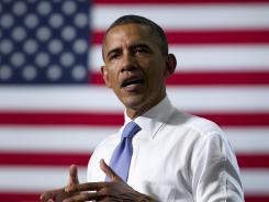 President Obama speaks at Oyster River High School on Monday in Durham, N.H.