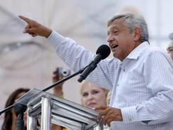 Mexican presidential candidate Andres Manuel Lopez Obrador delivers a speech during a campaign rally in Monterrey, Mexico, on June 20.
