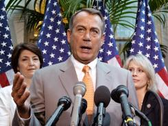 House Speaker John Boehner speaks to reporters on Wednesday.