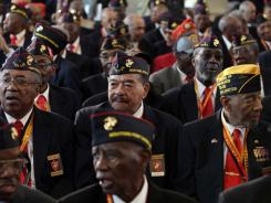 Montford Point Marines from across the United States gather at the U.S. Capitol in Washington on Wednesday.