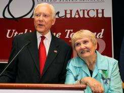 Sen. Orrin Hatch, R-Utah, and his wife, Elaine, thank his supporters after his primary win at an election party Tuesday in Salt Lake City.
