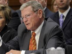 Sen. James Inhofe, R-Okla., participates in a House and Senate conference on the transportation bill on May 8 in Washington.