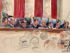 Chief Justice John Roberts, center, speaks at the Supreme Court on Wednesday in this artist rendering.