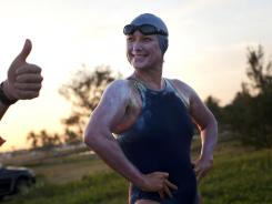 Penny Palfrey smiles at the start of her bid to complete a record swim from Cuba to Florida in Havana on Friday.
