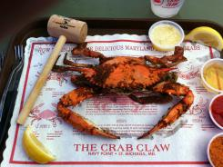 Steamed crabs are the big draw at the Crab Claw in St. Michaels, Md.