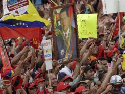 Supporters of Venezuela's President Hugo Chavez cheer during a campaign rally in Maracay, Venezuela.