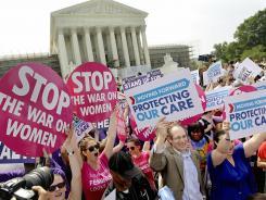 Outside the Supreme Court on Thursday.