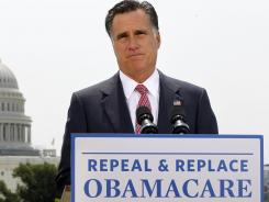 Republican presidential candidate Mitt Romney speaks about the Supreme Court ruling on health care in Washington, D.C., on June 28.