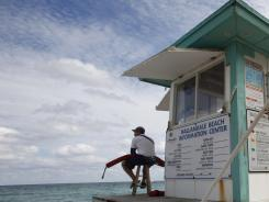 A lifeguard station in Hallandale Beach, Fla.