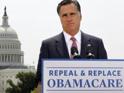 Republican presidential candidate Mitt Romney speaks about the Supreme Court's health care ruling near the U.S. Capitol on June 28.