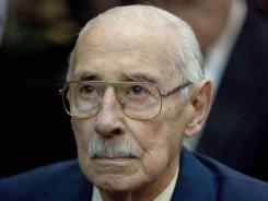 Former dictator Jorge Rafael Videla waits to hear the verdict in Argentina's historic stolen babies trial in Buenos Aires, Argentina, on Thursday.