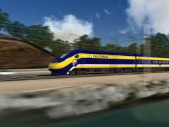 An artist's rendering of a high-speed train traveling along the California coast.