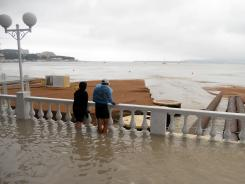 Heavy rains flooded the seafront at Gelendzhik, Russia, on Friday.
