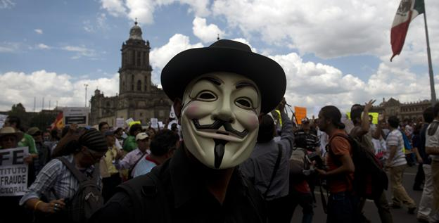 Civil organizations take part in a demonstration at Zocalo Square on Saturday in Mexico City.