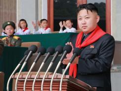 North Korean leader Kim Jong Un makes a speech during the celebration for the 66th anniversary of the Korean Children's Union on June 6.