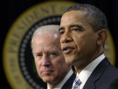 President Obama, accompanied by Vice President Biden, speaks in the Eisenhower Executive Office Building on the White House complex on Feb. 21.