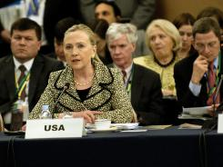 Secretary of State Hillary Clinton speaks during an international conference Sunday in Tokyo.