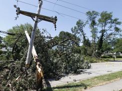 Downed and out: Fallen trees and power lines in Baltimore on July 2 after the storm.