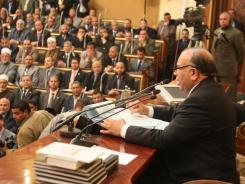 Saad el-Katatni addresses a session last January in Egypt.