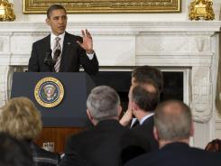 President Obama addresses a meeting of the National Governors Association in the State Dining Room of the White House in February.