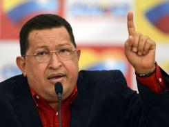 Venezuelan President Hugo Chavez speaks during a press conference in Caracas on Monday.