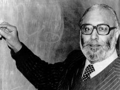 Professor Abdus Salam, pictured in London after he heard the news that he was a joint winner of the 1979 Nobel Prize for Physics.