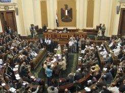 Egyptian Parliament Speaker Saad el-Katani presides over a brief session on Tuesday in Cairo.