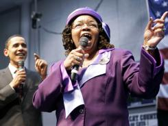 "Edith Child of Greenwood, S.C., leads the crowd in the campaign chant, ""Fired Up, Ready To Go"" of then-Democratic presidential hopeful Sen. Barack Obama during a rally in 2008."