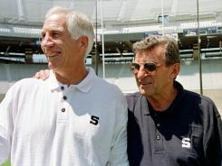 Friends for 30 years: Penn State football coach Joe Paterno and assistant Jerry Sandusky.