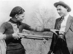 Outlaws and lovers Bonnie Parker and Clyde Barrow.