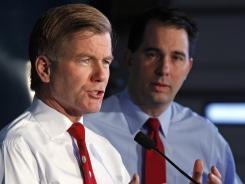 Virginia Gov. Bob McDonnell, left, speaks at a news conference alongside Wisconsin Gov. Scott Walker in Williamsburg, Va., on Friday.
