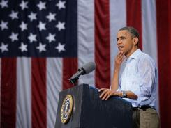 President Obama speaks to supporters during a campaign event Saturday at Walkerton Tavern in Glen Allen, Va.