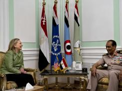 Secretary of State Hillary Clinton meets with Field Marshal Hussein Tantawi at the Ministry of Defense in Cairo on Sunday.