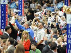 Delegates take part in the 2008 Republican National Convention in St. Paul.