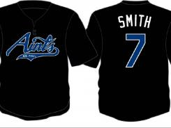 "The special baseball uniforms for the St. Paul Saints. The Minnesota minor league baseball team will become the ""Mr. Paul Aints"" in a game sponsored by a local atheist group."