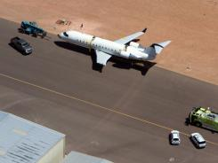 A SkyWest regional jet sits on the tarmac at St. George Municipal Airport on Tuesday.