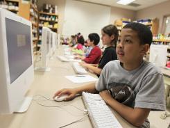 Computer class: Trevon Davis, 9, in Pepper Pike, Ohio.