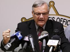 Maricopa County Sheriff Joe Arpaio answers questions May 10 in Phoenix about a federal civil lawsuit against his department.