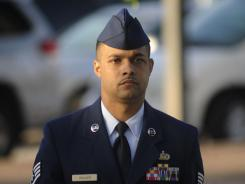 Air Force Staff Sgt. Luis Walker arrives for the fourth day of trial at Lackland Air Force Base in San Antonio, Texas on Friday.