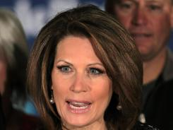 Rep. Michele Bachmann speaks during a news conference after ending her campaign for the Republican presidential nomination.