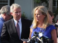 Kerry Kennedy speaks after appearing in court earlier this month to address driving while ability impaired charges. Doctors say it is unlikely that a seizure caused her to lose consciousness and sideswipe a truck.