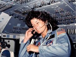 Sally Ride on board the seventh shuttle mission in June 1983.
