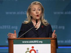 """The U.S. is committed and will remain committed to achieving an AIDS-free generation,"" Secretary of State Hillary Rodham Clinton said Monday."