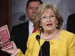 Rep. Diane Black, R-Tenn., speaks to reporters during a news conference on Capitol Hill in 2011.