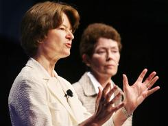 Sally Ride, left, and her longtime partner, Tam O'Shaughnessy, speak during a 2008 conference in Anaheim, Calif.