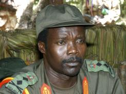 Joseph Kony, leader of the Lord's Resistance Army, looks on during a 2006 meeting in the Democratic Republic of Congo near the Sudan border.