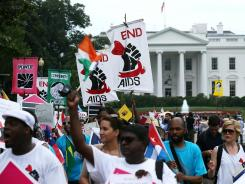 AIDS activists arrive at Lafayette Square in Washington, D.C., after Tuesday's march.