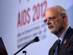 Bart Haynes, director of Duke University's Human Vaccine Institute, speaks during the 19th International AIDS Conference on Wednesday in Washington.
