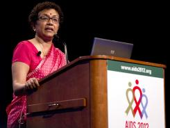"UNICEF Deputy Executive Director Geeta Rao Gupta speaks at the AIDS conference on Wednesday in Washington. Her speech was titled ""Turning the Tide for Women and Girls."""