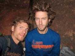 In this July 2012 photo provided by Galit Weiss, climber Gil Weiss, right, and Ben Horne pose for a photo as they climb the Palcaraju Peak in Peru.